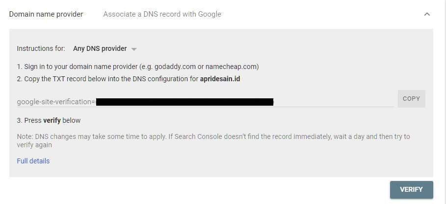 verifikasi search console