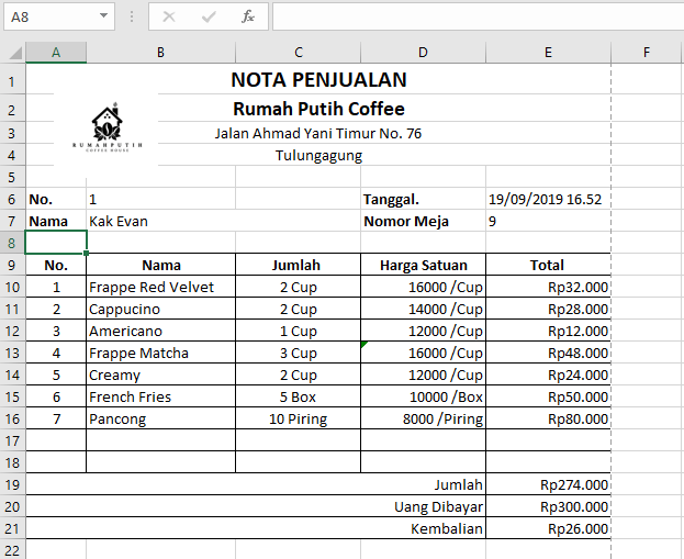 contoh nota penjualan cafe
