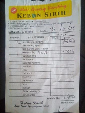 contoh nota penjualan makanan