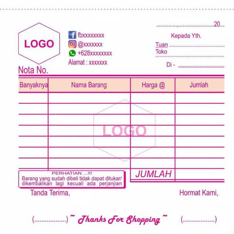 contoh nota penjualan online shop