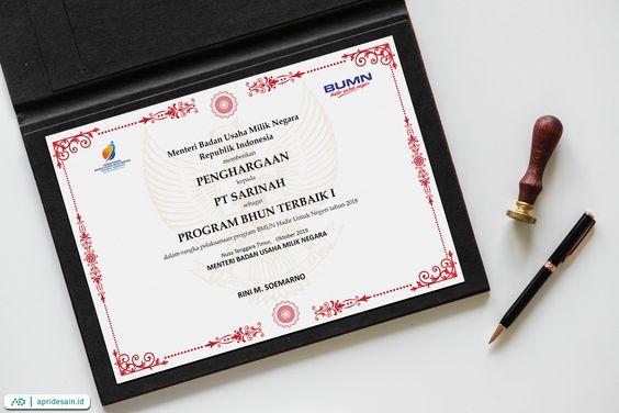 desain sertifikat resmi formal