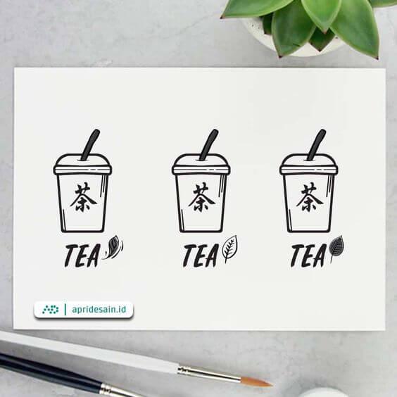 desain logo minuman tea