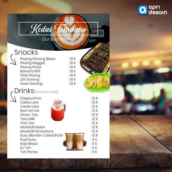 desain menu kedai kopi snack