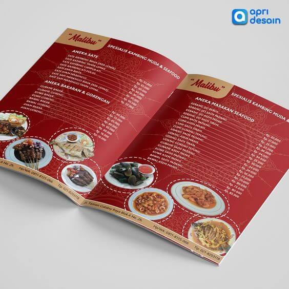 jasa desain menu restoran seafood merah